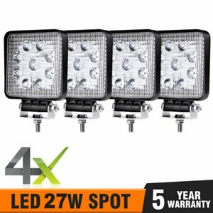 4pcs Led Work Light Spot Lights For Truck Off Road Tractor 12v 24v Square 27w