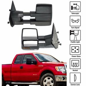 Towing Power Heated Tow Mirrors Set Signal Puddle For 2007 2014 Ford F150 Pickup