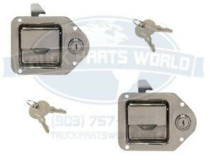 2 Trailer Paddle Door Latch Handle Rv Truck Tool Box Lock Steel Key 4 3 8 3 1 4
