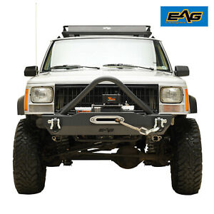 Eag Fits 84 01 Jeep Cherokee Xj Stinger Front Bumper W Winch Plate