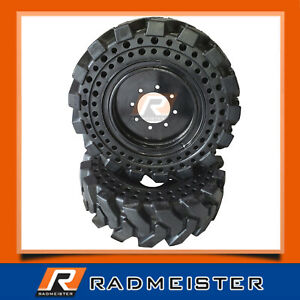 10x16 5 Flat Proof Solid Skid Steer Tires Set Of 4 With Rims For Case