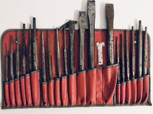 Snap on C 211a 22 Pieces Punch Chisel Set In Kit Bag Very Vintage And Unique