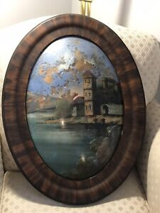 Antique Oval Framed Reverse Painting Convex Bubble Glass Vintage Scotland