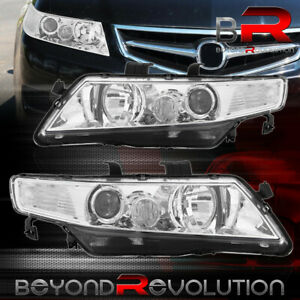 For 2004 2008 Acura Tsx Cl7 Cl9 Chrome Clear Factory Style Projector Headlights