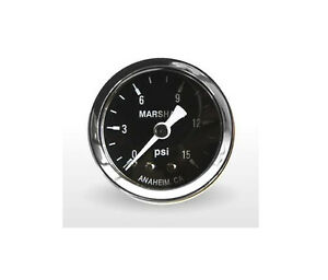 Marshall Gauge 0 15 Psi Fuel Oil Pressure Gauge Black 1 5 Diameter 1 8 Npt