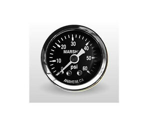 Marshall Gauge 0 60 Psi Fuel Oil Pressure Gauge Black 1 5 Diameter 1 8 Npt