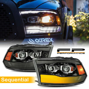 For 09 18 Ram Alpharex Upgraded Pro V2 Black Led Sequential Projector Headlights