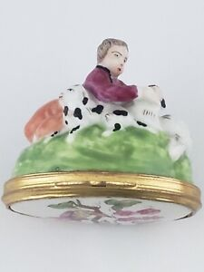 Rare Antique French Porcelain Figural Snuff Box Shepherd Boy With Dog Sheep