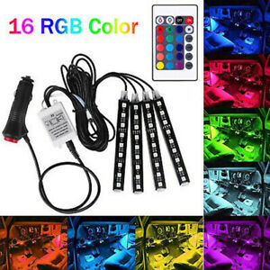 4pcs 36 Led Car Interior Atmosphere Neon Lights Strip With Ir Remote Control Us