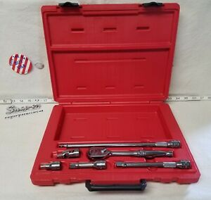 Snap on Usa 206afsp 6 pc 3 8 Drive Handle Ratchet Extension Swivel Set Pb16b