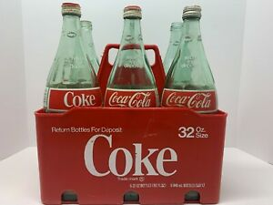 Coca Cola 6-Pack 32OZ Returnable Bottles With Crate