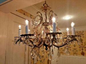 Large Pineapple Brass Crystal Spanish Chandelier Loaded W Lead Crystals 8 Arm
