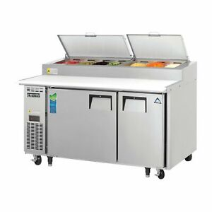 Everest Eppsr2 59 Two Section Refrigerated Pizza Prep Table 16 0 Cu Ft