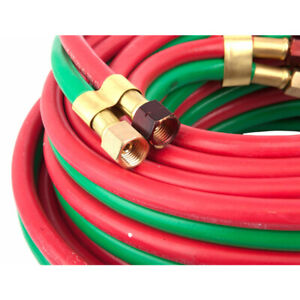 Forney 86146 Red green R grade Twin Oxy acetylene Hose 50 L Ft X 1 4 Dia In