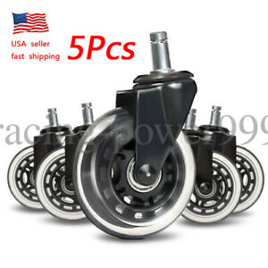 Office Chair Caster Wheels Double Wheel Bearing Design For All Floors Set Of 5
