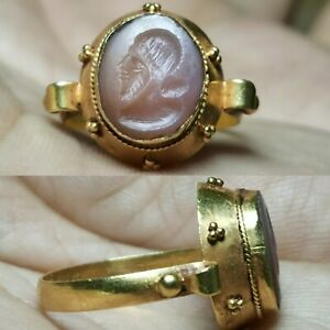 Roman Agate King Signed Intaglio Stone High Carat Gold Ring 5 5 Grams 14