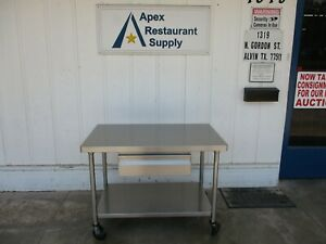 All Stainless Table With Drawer And Casters 48x30x35 great Shape 5119