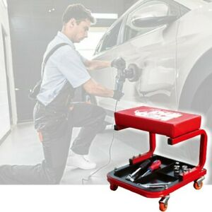 Heavy Duty Creeper Seat Tool Box Padded Mechanic Rolling Garage Chair Work Stool