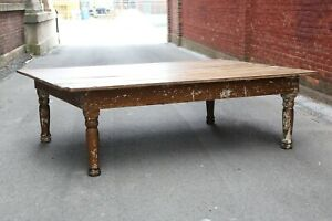 Antique Vintage 7ft Harvest Table Farm House Coffee Table Wood Counter Display