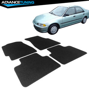 Fits 92 95 Civic 2dr 3dr 4dr Oe Fitment Car Floor Mats Front Rear Black Nylon