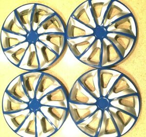 15 Inch Wheel Covers Hubcaps Universal Wheel Rim Cover 4 Pieces Set Silver Blue