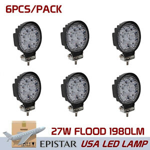6x5inch 27w Led Work Light Bar Flood Offroad Driving Fog Lamp Round 12v Us Stock