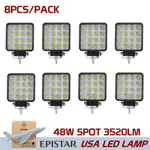 8x 48w Led Work Light Truck Offroad Tractor Spot Lights Driving Square Suv 4inch