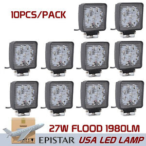 10x 27w Flood Square Led Work Light Off road Boat Car Tractor Suv Atv Truck Lamp