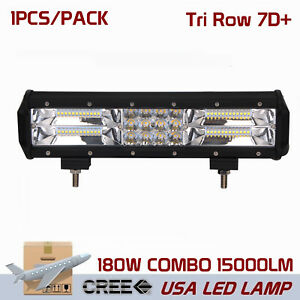 7d Tri Row 12inch 180w Led Light Bar Spot Flood Combo Offroad 4x4wd Tractor Auto