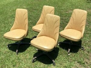 Vintage Padded Swivel Chairs Mid Century Tan Set Of 4 Kitchen Table Retro