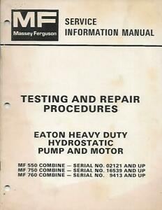 Massey Ferguson Testing And Repair Procedures Eaton Heavy Duty Hydrostatic Pump