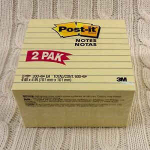 Post it Notes Canary Yellow Lined 4 X 4 2 Pads Of 300 Sheets 600 Sheets