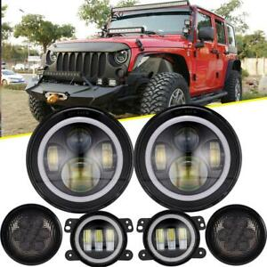 For Jeep Wrangler Jk 07 17 7 Halo Led Headlight Fog Light Turn Signal Combo Kit