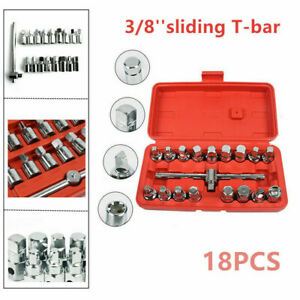 18x 3 8 Drive Oil Drain Pipe Plug Socket Wrench 170mm T Bar Removal Tool Kit
