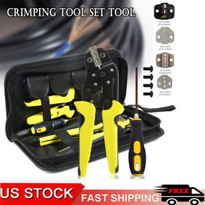 Us Wire Strippers Crimper Pliers Tool 4 In 1 Insulated Ratcheting Terminals Set
