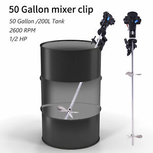 Mixer 50 Gallon Tank Barrel 1 2hp Pneumatic Air Mix Clip Bracket Stainless Steel