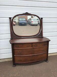 Antique Mahogany Large Bow Front Dresser With Mirror