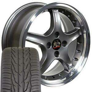 17 Anthracite 4 Lug Wheels Set Of 4 Rims Tires Fit Mustang Gt Cobra Style