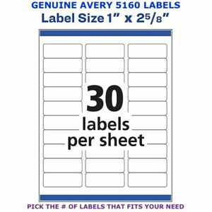 Avery Easy Peel Laser Address Labels 1 X 2 5 8 5160 Pick Your Own Of Label