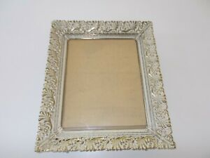 Vintage Metal Filigree Picture Frame White Washed Gold 8 X 10 Vg Condition