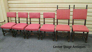 54337 T4 Set Of 6 Antique Walnut Carved Jacobean Dining Chairs Side W Cushion
