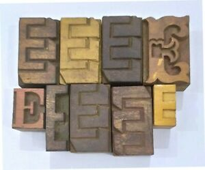 Letterpress Letter e Wood Type Printers Block lot Of 9 Typography eb 194