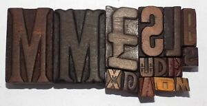 Letterpress Letter Wood Type Printers Block Lot Of 15 Typography eb 68