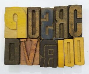 Letterpress Letter Wood Type Printers Block lot Of 11 Typography eb 215