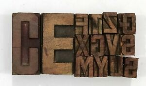 Letterpress Letter Wood Type Printers Block Lot Of 14 Typography eb 114
