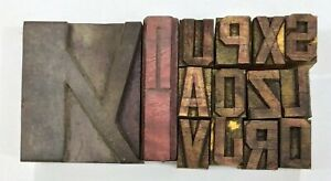 Letterpress Letter Wood Type Printers Block lot Of 14 Typography eb 195