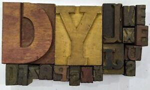 Letterpress Letter Wood Type Printers Block lot Of 18 Typography eb 226