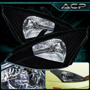 Black Housing Clear Lens Reflector Headlight Lamp For 00 01 02 03 04 Ford Focus