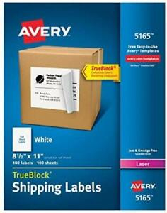 Avery Shipping Address Labels Laser Printers 100 Labels Full Sheet Labels
