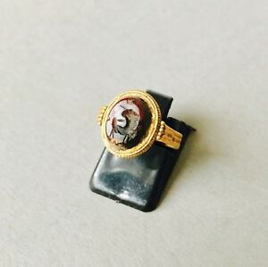 Beautiful Ancient Roman Wearable Solid Gold Oval Shaped Intaglio Ring Size K1 2